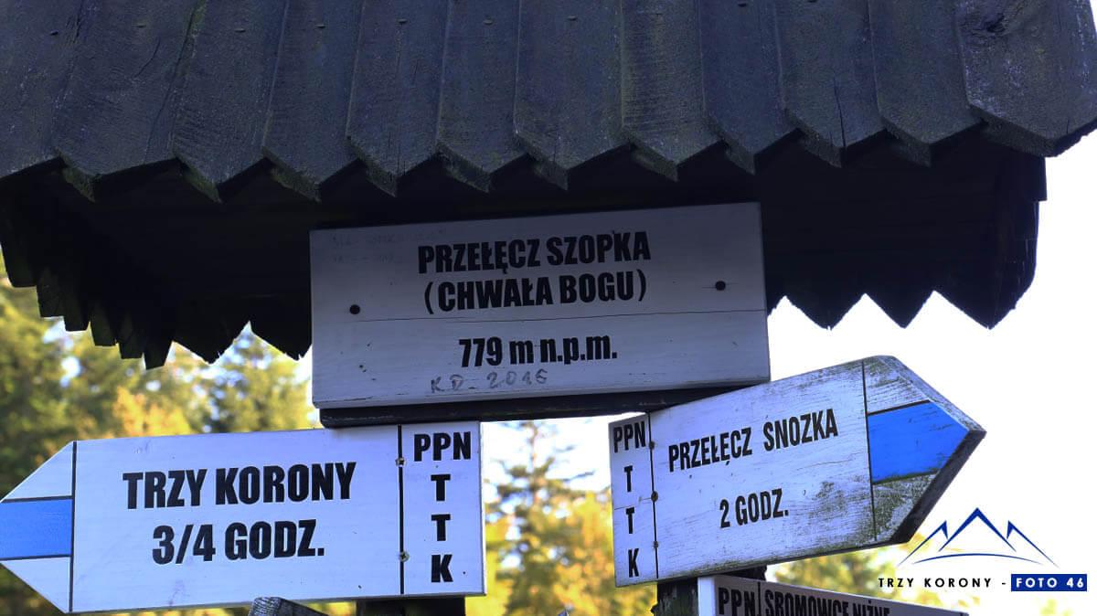 Drogowskaz przełęcz Szopka